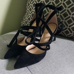 Lulu's Kennedy Black Suede Lace-up Heels